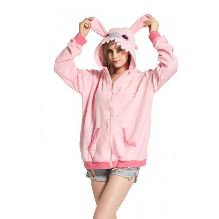 Pink Stitch Animal Kigurumi Fleece Hoodie Coat Jacket