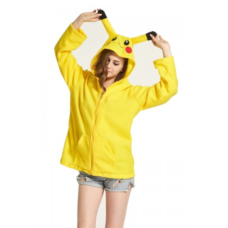 Pikachu Animal Kigurumi Fleece Hoodie Coat Jacket