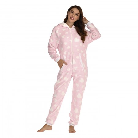 Women Onesie with Hood One-Piece Pajamas Pink Coral Fleece