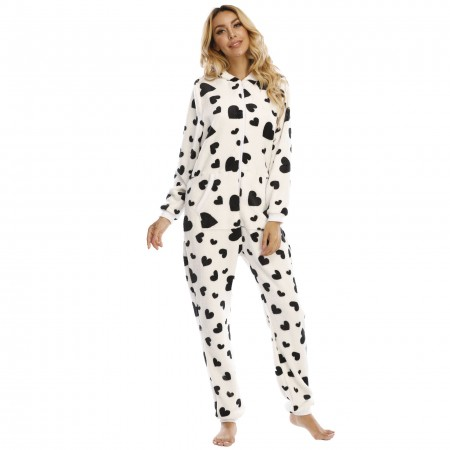 Adult Women Onesie with Hood One-Piece Pajamas Coral Fleece