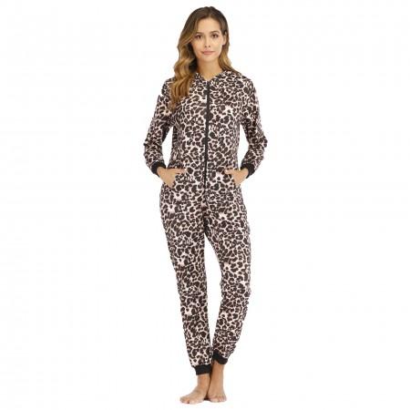Adult Women Onesie One-Piece Pajamas with Hood Zip Up Leopard
