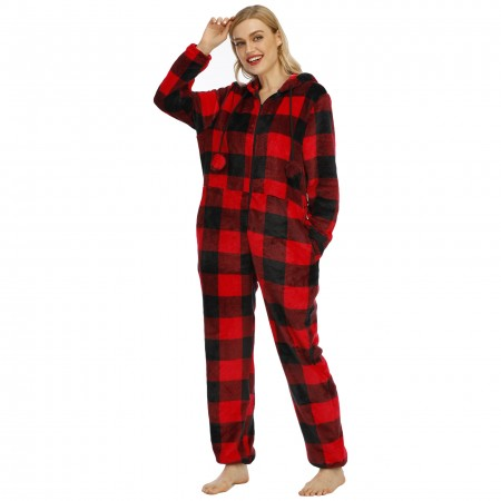 Women's Christmas Hooded Onesie One-Piece Pajamas with Poms Red Plaid