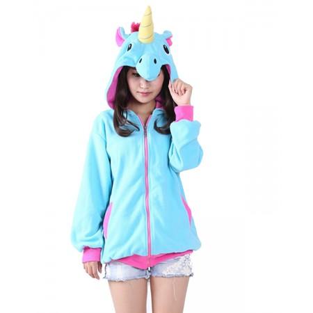 Blue Unicorn Hoodie Coat Jacket Zip Up