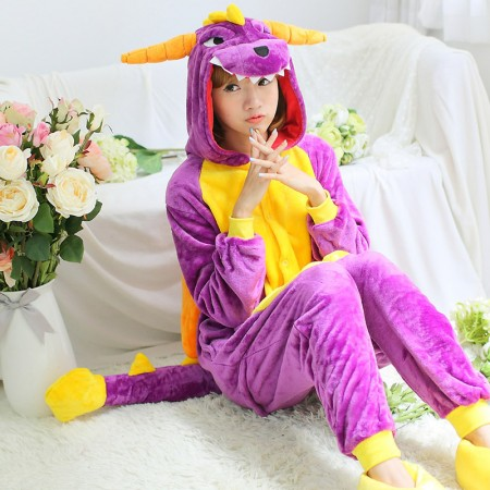Adult Purple Dragon Dinosaur Onesie Pajamas Animal Costumes For Women & Men