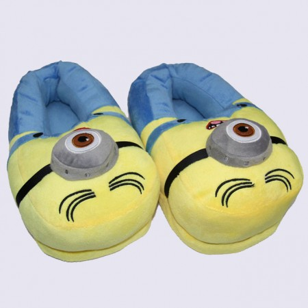 Yellow Blue One Eye Despicable Me Minion Plush Stuffed Slippers Shoes