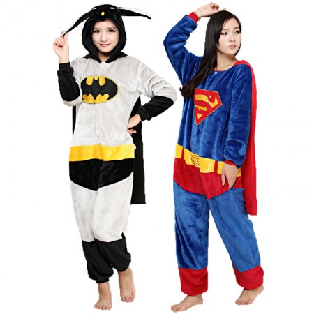 Batman & Superman Costume Onesie Pajamas For Adult & Kids