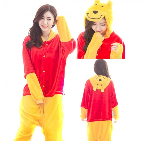 Winnie The Pooh Costume Onesie Pajamas For Adult & Kids Animal Onesie Costumes