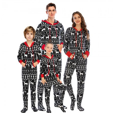 Matching Family Christmas Onesie One-piece Footed Pajamas Black