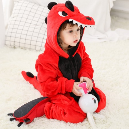 Kids Red Dinosaur Onesie Pajamas Animal Costumes Outfit for Boys & Girls