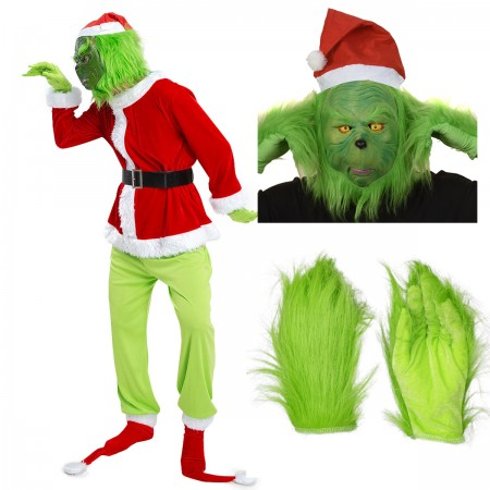Grinch Costume for Adult Xmas Outfit Full Sets
