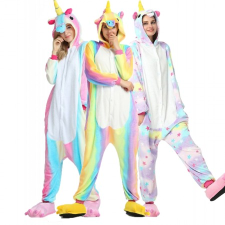 54fb3301f733 Colorful Unicorn Kigurumi Onesie Pajamas Animal Costumes For Women & Men
