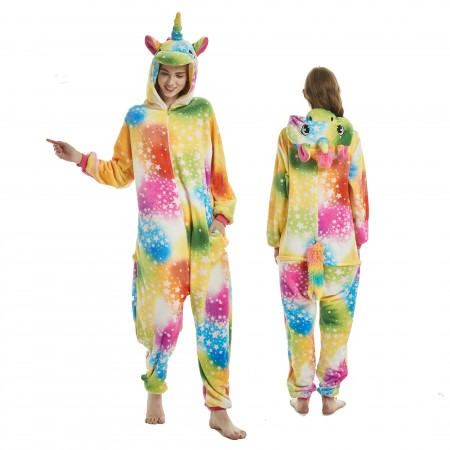 Colorful Dream Unicorn Onesie Rainbow Tail for Adult Kigurumi Animal Pajamas Funny Halloween Costumes