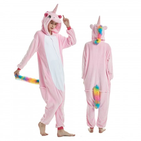 Pink Unicorn Onesie Rainbow Tail for Adult Kigurumi Animal Pajamas Funny Halloween Costumes