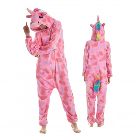 Pink Dream Unicorn Onesie Rainbow Tail for Adult Kigurumi Animal Pajamas Funny Halloween Costumes