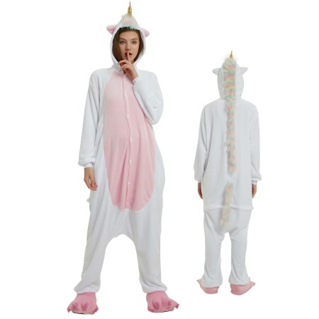 White Unicorn Onesie Rainbow Tail for Adult Kigurumi Animal Pajamas Funny Halloween Costumes