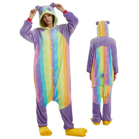 Rainbow Panda Onesie for Adult Kigurumi Animal Pajamas Funny Halloween Costumes