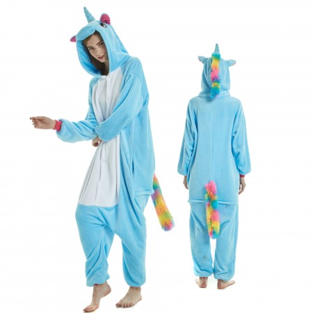 Blue Unicorn Onesie Rainbow Tail for Adult Kigurumi Animal Pajamas Funny Halloween Costumes