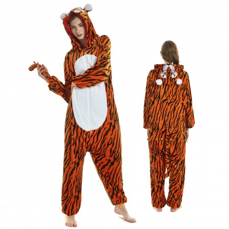 7dea0086237c Tiger Onesie for Adult Kigurumi Animal Pajamas Funny Halloween Costumes