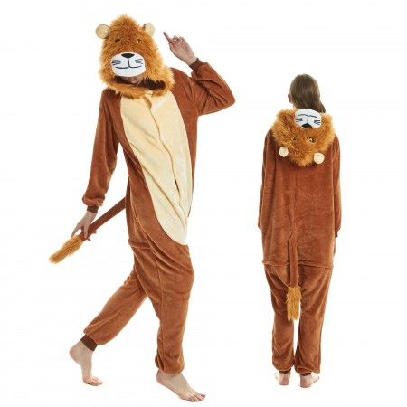 Lion Onesie for Adult Kigurumi Animal Pajamas Funny Halloween Costumes