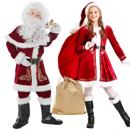 Kids Santa Costume Suit for Girls & Boys Full Sets