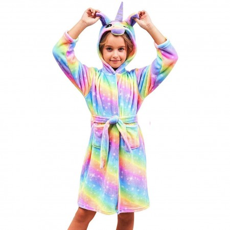 Unicorn Gifts For Girls - Best Gifts Soft Galaxy Unicorn Hooded Bathrobe Sleepwear