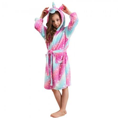 Unicorn Gifts For Girls - Pink Galaxy Unicorn Hooded Bathrobe Sleepwear