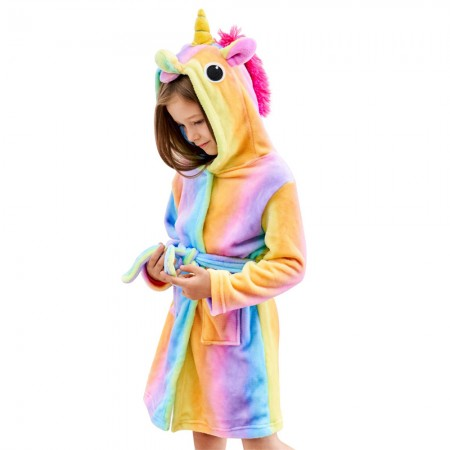 Rainbow Unicorn Gifts For Girls - Rainbow Unicorn Hooded Bathrobe Sleepwear
