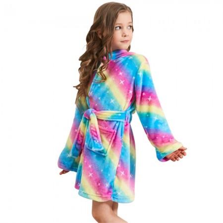 Blue Galaxy Unicorn Hooded Bathrobes For Girls - Christmas Gifts Soft Sleepwear