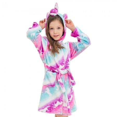 Purple Unicorns Hooded Bathrobes For Girls - Best Gifts Soft Sleepwear