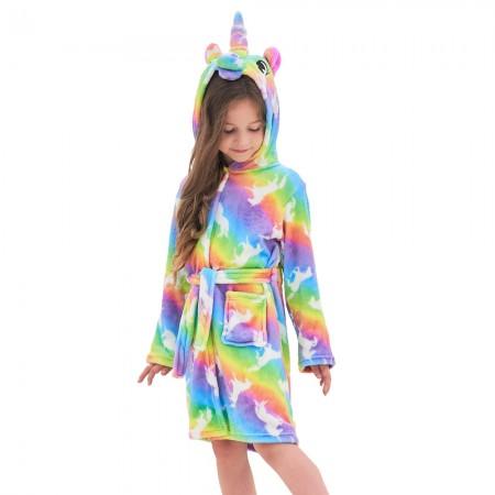 Unicorn Hooded Bathrobes For Girls - Best Gifts Soft Sleepwear Rainbow Unicorns