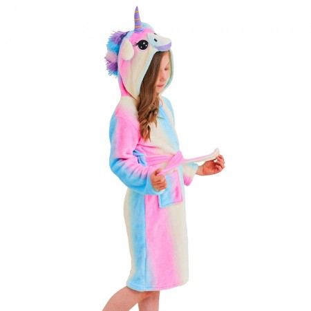 Unicorn Hooded Bathrobes For Girls - Best Gifts Soft Sleepwear Blue Rainbow