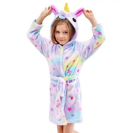 Unicorn Hooded Bathrobes For Girls - Best Gifts Soft Sleepwear Dream Star