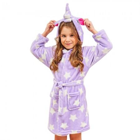 Unicorn Hooded Bathrobes For Girls - Kids Best Unicorn Gifts Soft Sleepwear Purple