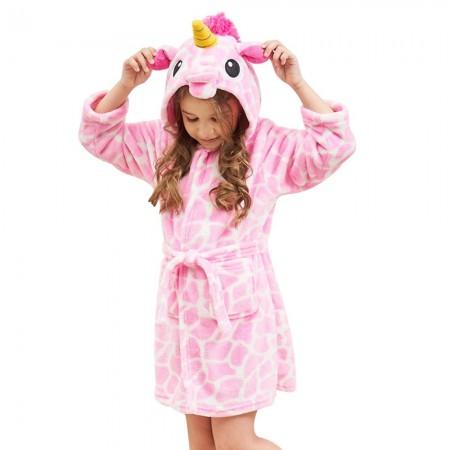 Unicorn Hooded Bathrobes For Girls - Kids Best Unicorn Gifts Soft Sleepwear Pink