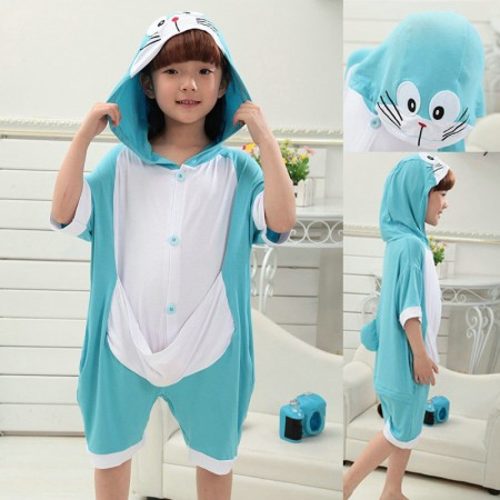 kids kigurumi Animal Doraemon Onesies Short Sleeves Pajama Costume