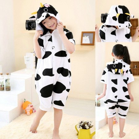 Cartoon Cow pattern kids Animal Onesies Short Sleeves Pajama Costume