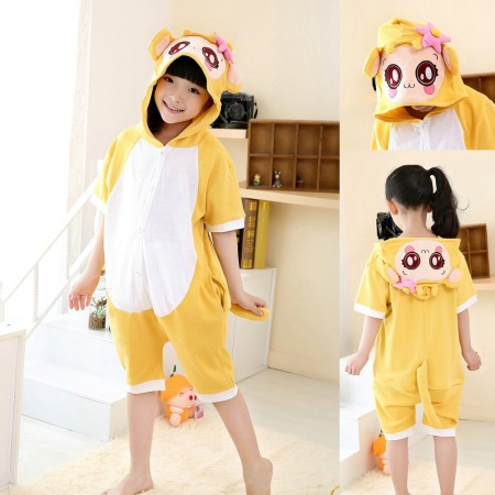 Cartoon Yellow Monkey kids Animal Onesies Short Sleeves Pajama Costume