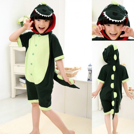 Green Dinosaur kigurumi kids Animal Onesies Short Pajama Costume