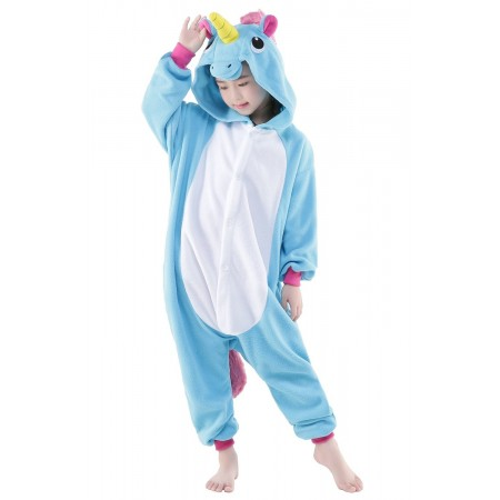Blue Unicorn Kigurumi Onesie Pajamas Animal Costumes for Kids