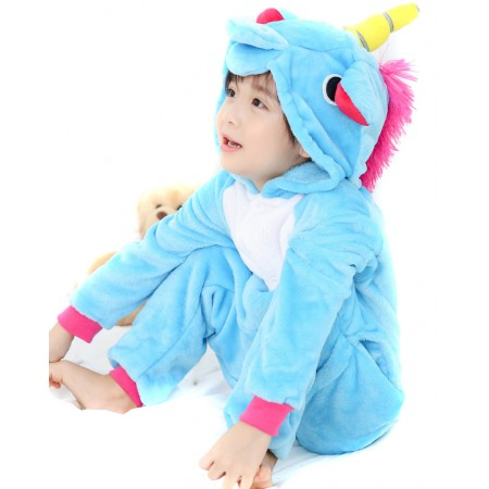 Kid Blue Unicorn Kigurumi Onesie Pajamas Animal Costumes