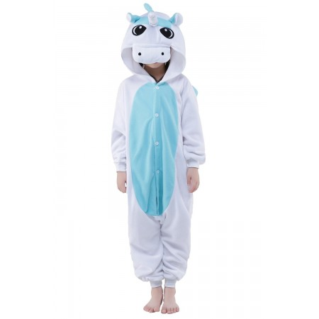 White Unicorn Kigurumi Onesie Pajamas Animal Costumes for Kids