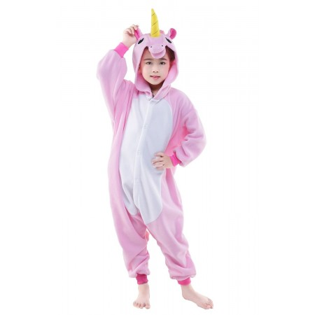 Pink Unicorn Kigurumi Onesie Pajamas Animal Costumes for Kids