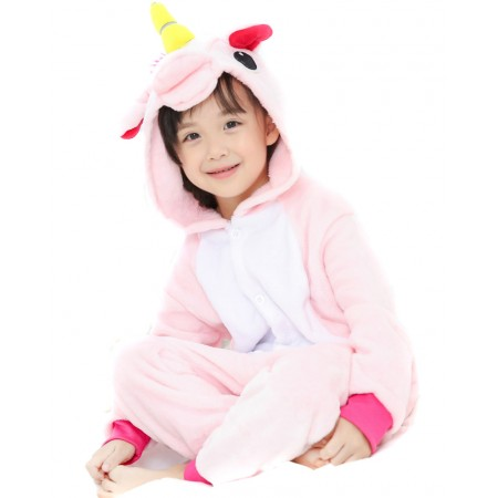 Kid Pink Unicorn Kigurumi Onesie Pajamas Animal Costumes