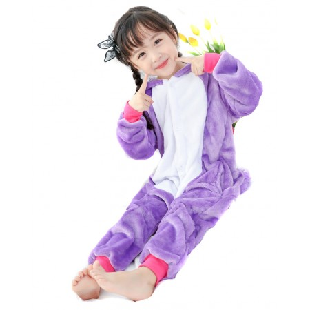 Purple Unicorn Kigurumi Onesie Pajamas Animal Costumes for Kids