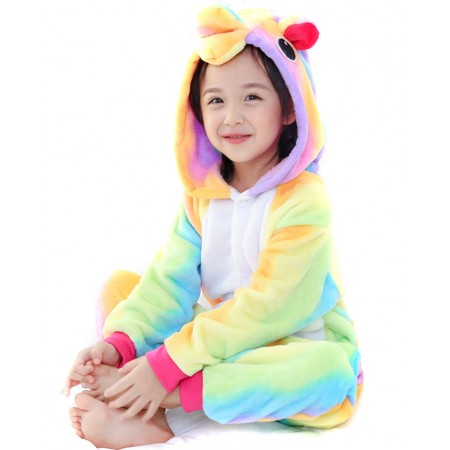 Rainbow Unicorn Kigurumi Onesie Pajamas Animal Costumes for Kids