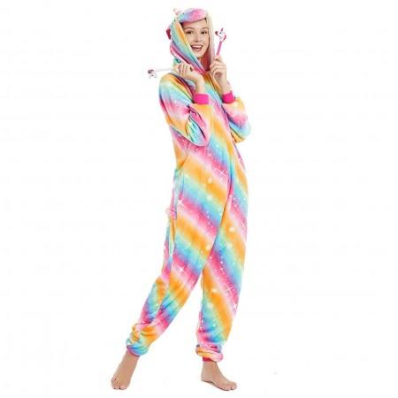 Rainbow Star Unicorn Onesie Pajamas Animal Halloween Costumes for Women & Men with Zipper