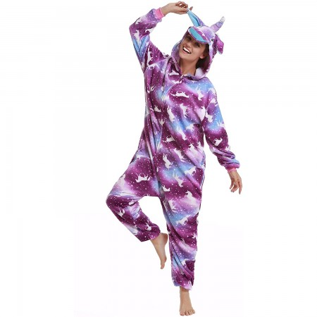 Purple Galaxy Unicorn Onesie Pajamas Animal Halloween Costumes for Women & Men