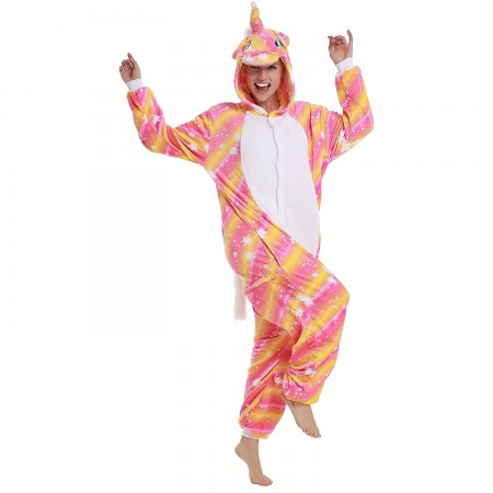 Orange Star Unicorn Onesie Pajamas Animal Halloween Costumes for Women & Men