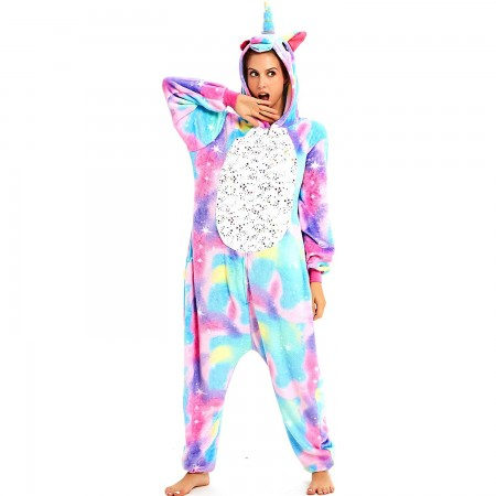 Blue Galaxy Unicorn Onesie Pajamas Animal Halloween Costumes for Women & Men
