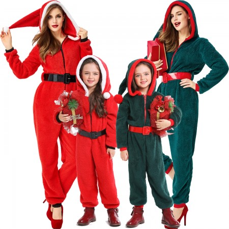Unisex Adult & Kids Christmas Onesie Santa Suit Outfit One-Piece Pajama